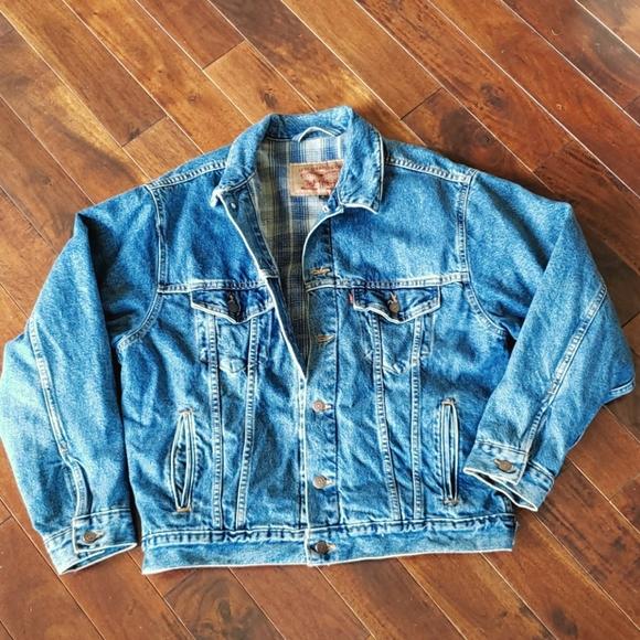 Vtg Sz M Levi's Red Tag Flannel Lined Denim Jacket